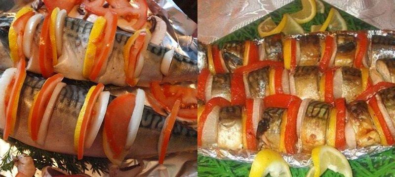 рецепты блюд из рыбы, запеченная скумбрия с лимоном и томатами