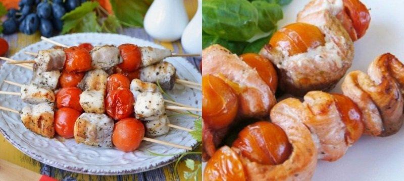 рецепты блюд из рыбы, шашлычок из рыбы с помидорами черри