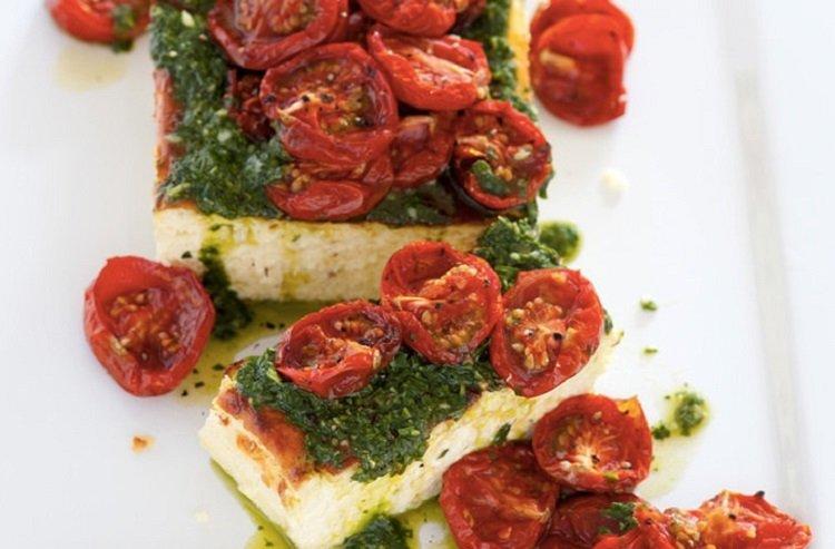 Рецепты запеченных сыров, рикотта с помидорами