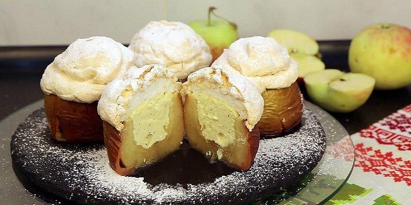 яблоки, запеченные с меренгой