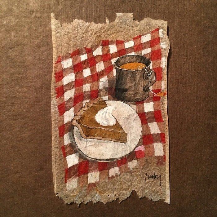 Rysunki na torebkach po herbatach