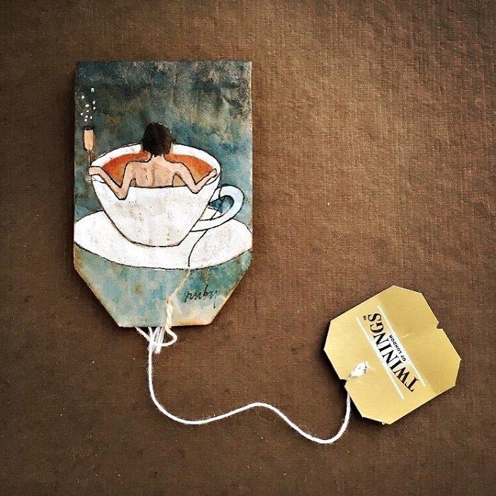 rysunki na torebki herbaty