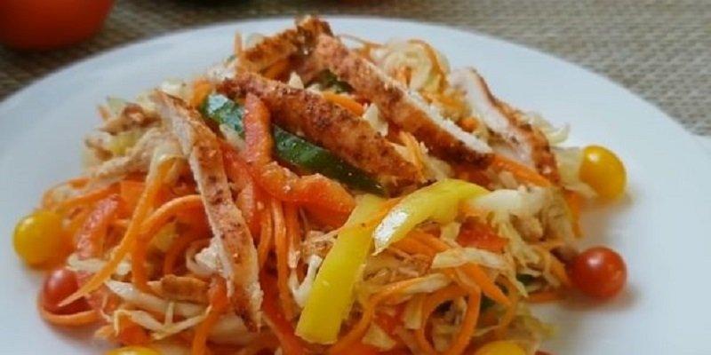 салат з морквою і куркою