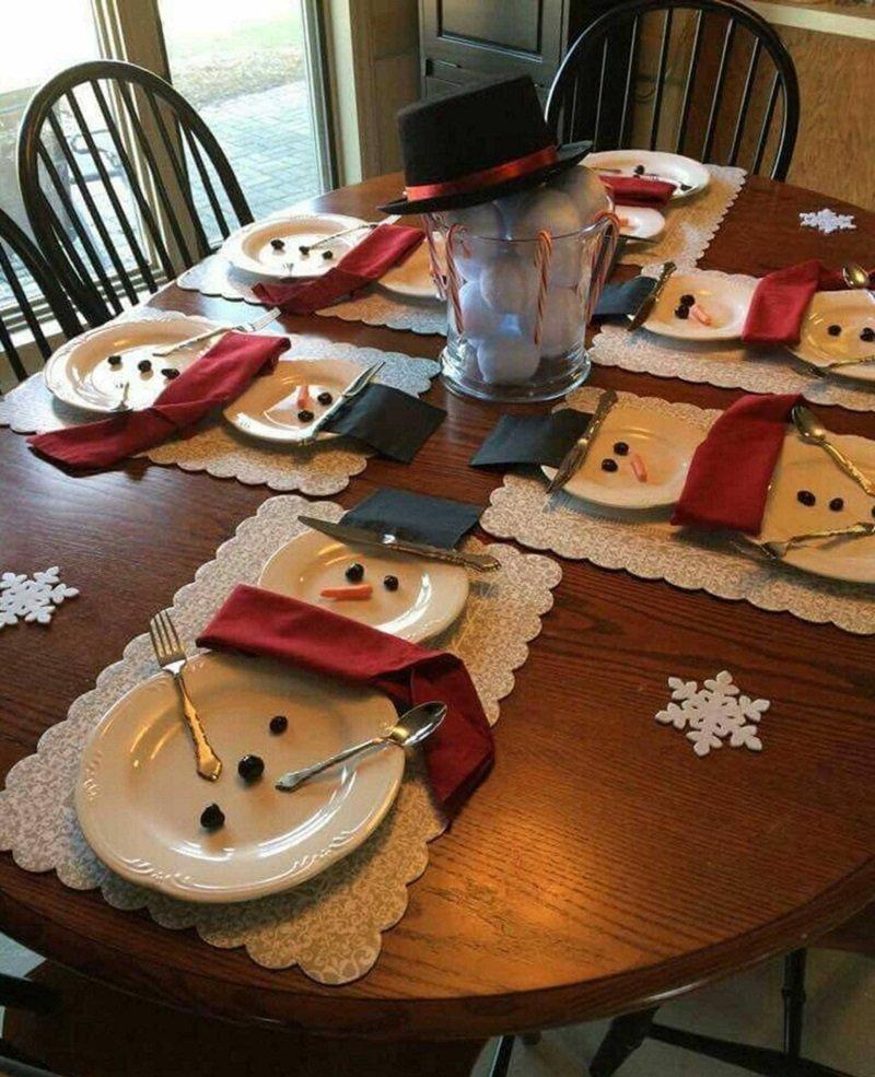 снеговики из тарелок