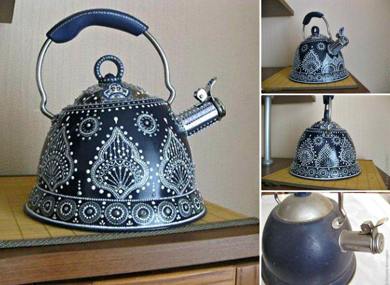 декор старого чайника