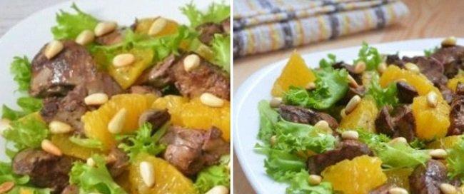 Теплый салат с печенью курицы и апельсином