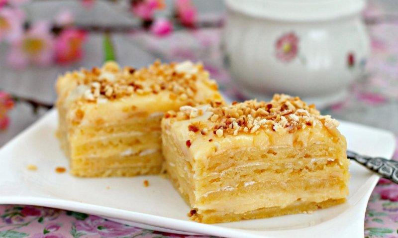 Торт из вафельных коржей с заварным кремом