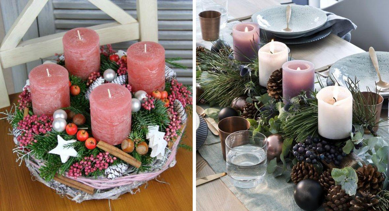 декор новогоднего стола подсвечниками