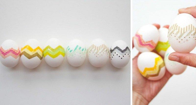Яйца с декором из бумажных лент
