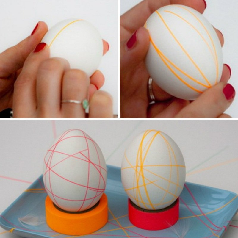 Украшение яиц цветным скотчем