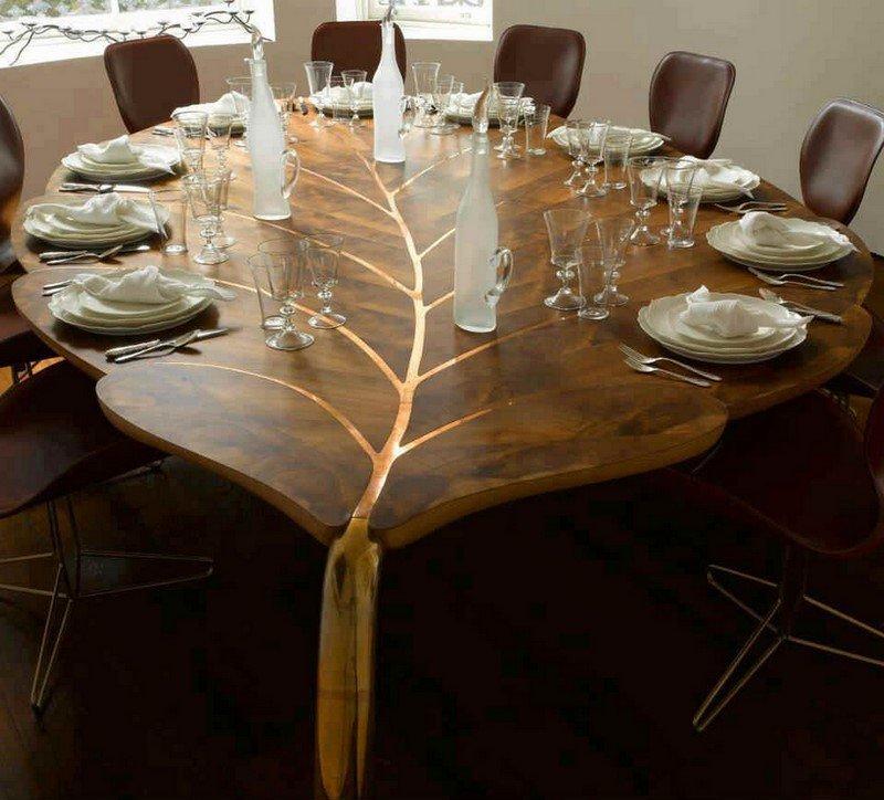 стол в форме листка