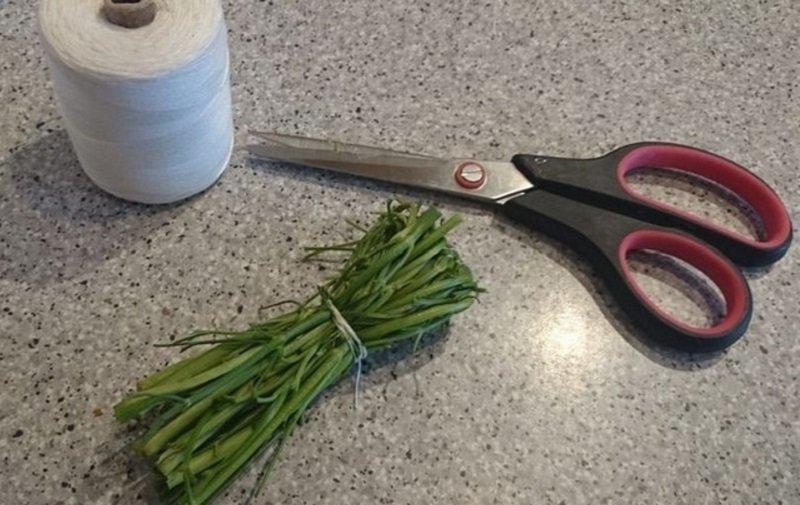 использовать твердые стебли зелени