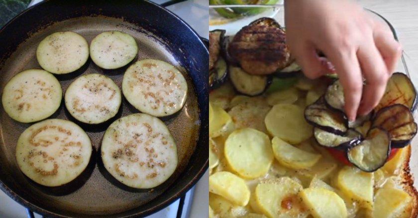 Баклажаны с картофелем и фаршем