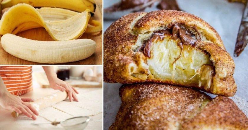 Бананы в слоеном тесте