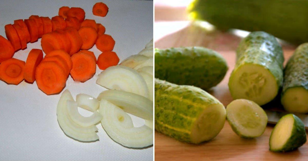 Баварські огірки, мариновані з овочами