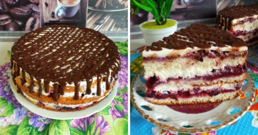 Бисквитный торт с маскарпоне