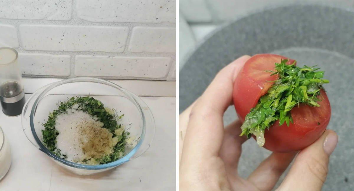 Швидкі квашені помідори із зеленню