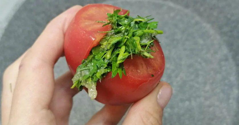 Швидкі квашені помідори із зеленню подивитися рецепт