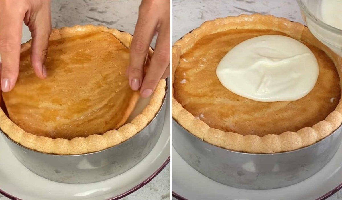 верхний бисквит и крем