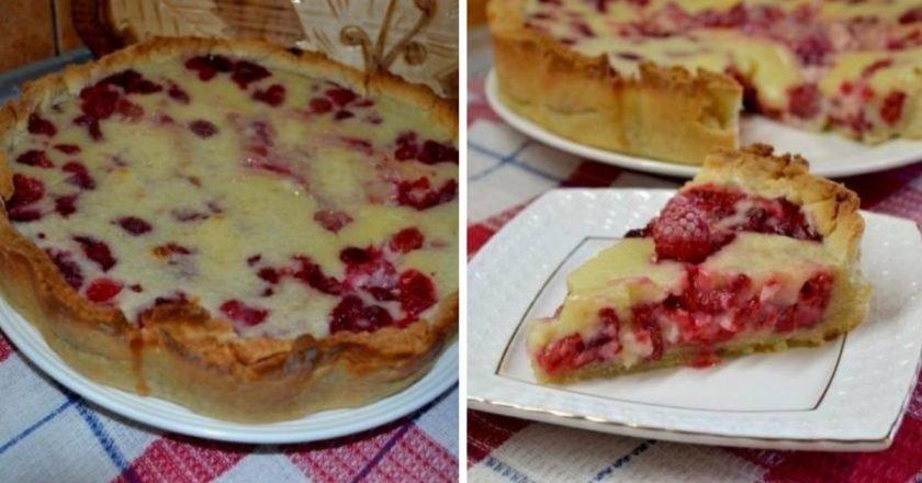 Цветаєвский пиріг з малиною і сметанною заливкою подивитися рецепт