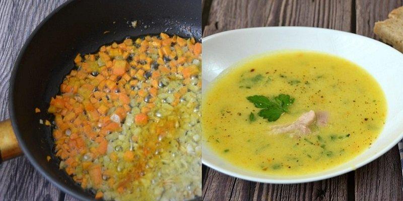 дачный суп на курином бульоне