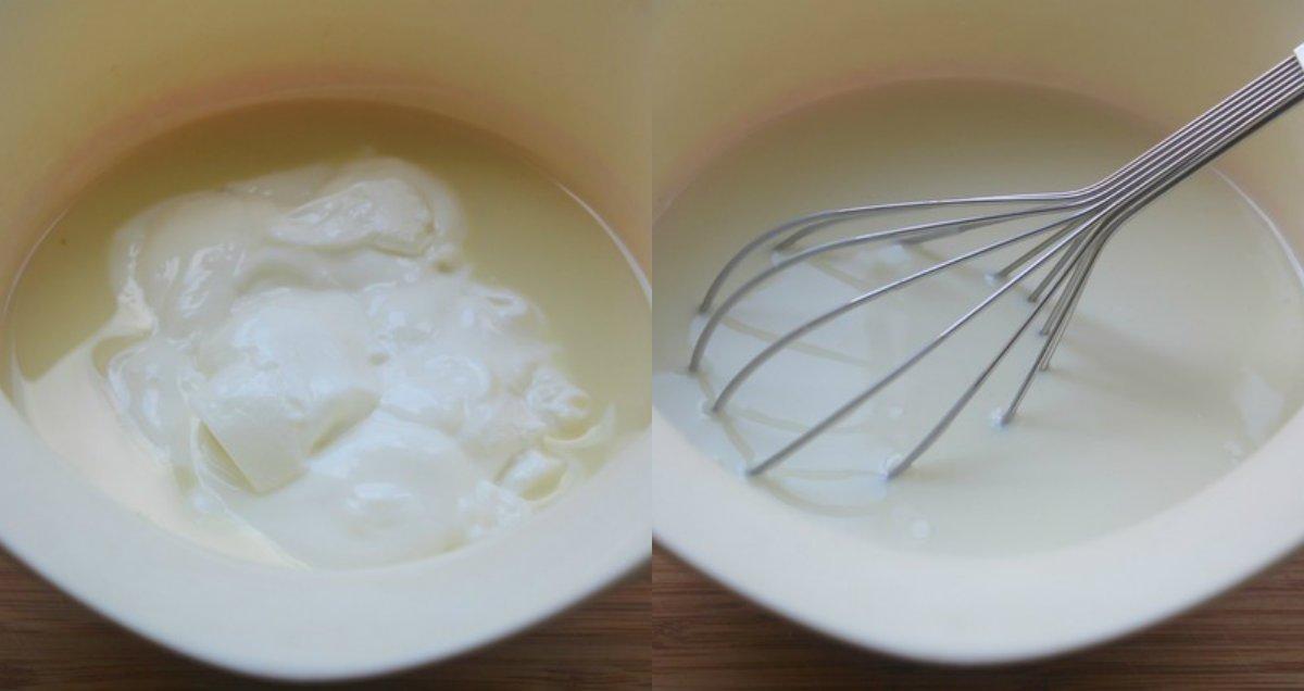 смешивание ингредиентов на десерт