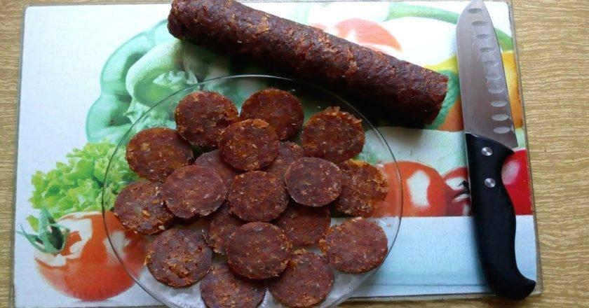Домашня куряча ковбаса без оболонки подивитися рецепт