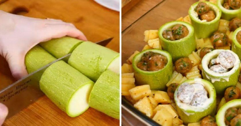 Фаршировані кабачки з картоплею в духовці подивитися рецепт