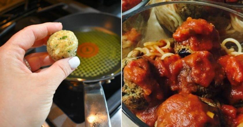 Фрикадельки из баклажана в томатном соусе