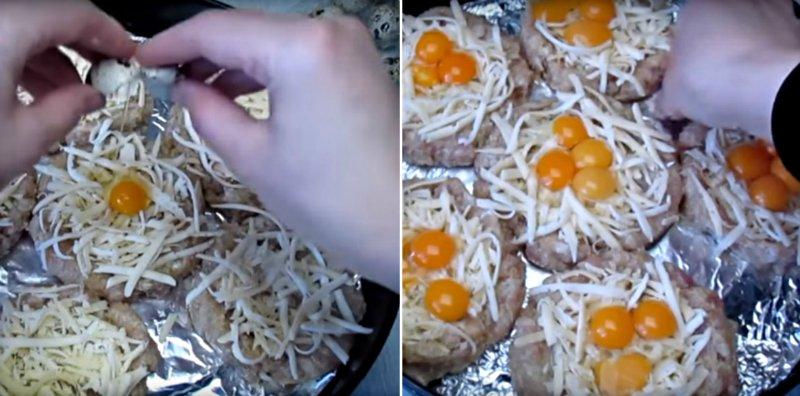 гнезда из фарша с яйцами и сыром