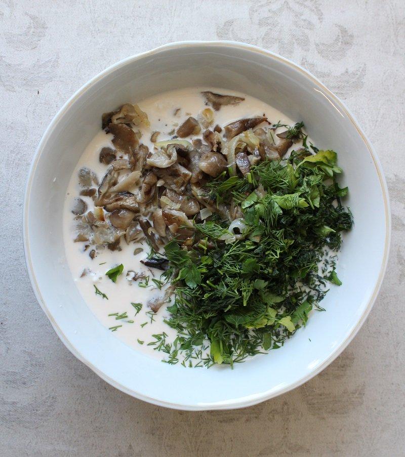 грибы с зеленью