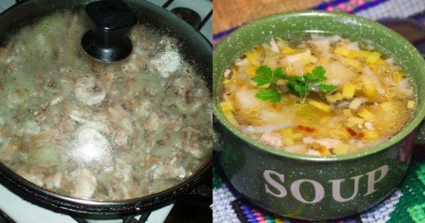 Грибной суп в горшочках