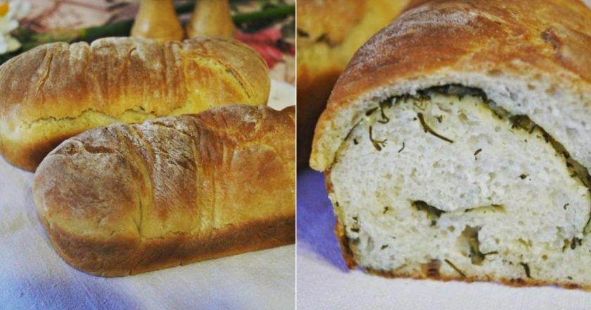 Хлеб с укропом и чесноком в духовке
