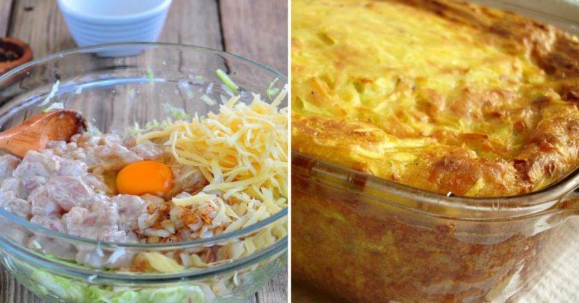Кабачковая запеканка с курицей и сыром