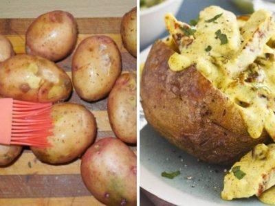 Картофель, фаршированный курицей