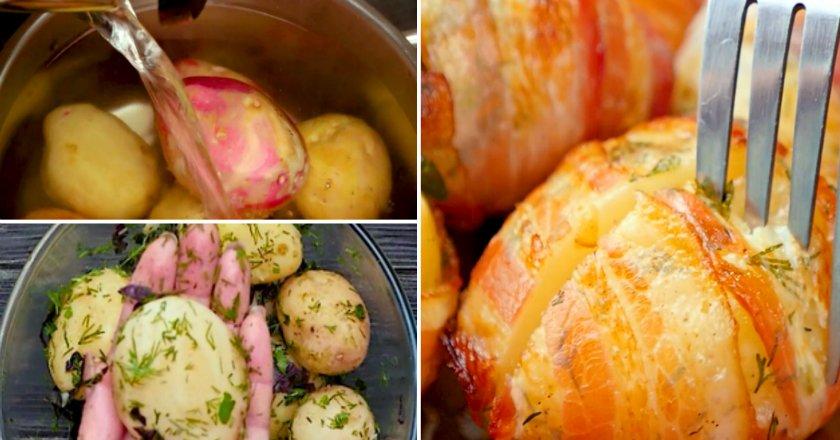 Картофель, запеченный в беконе