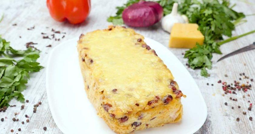Картофельная запеканка с фасолью