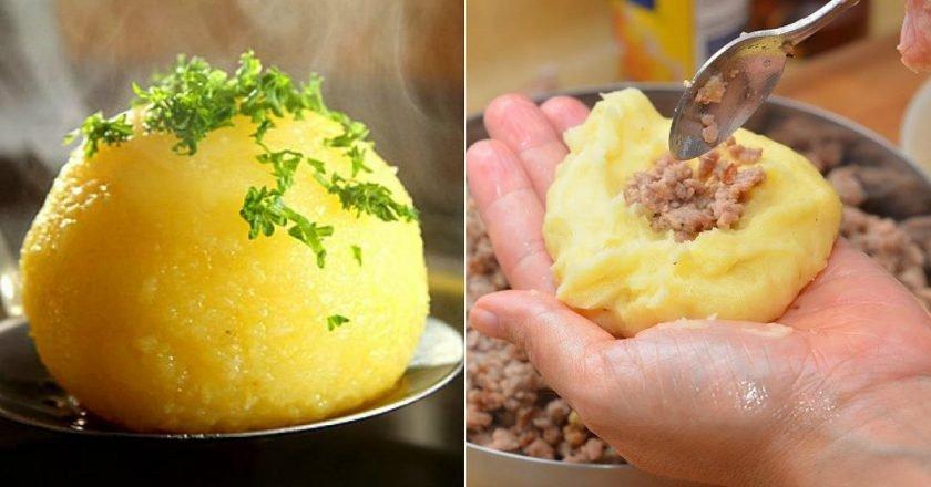 Картофельные клецки с мясом