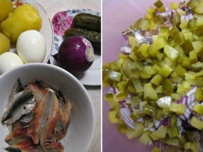 Картофельный салат с килькой и вареными яйцами