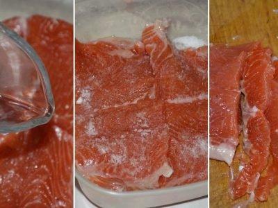 Красная рыба в водке