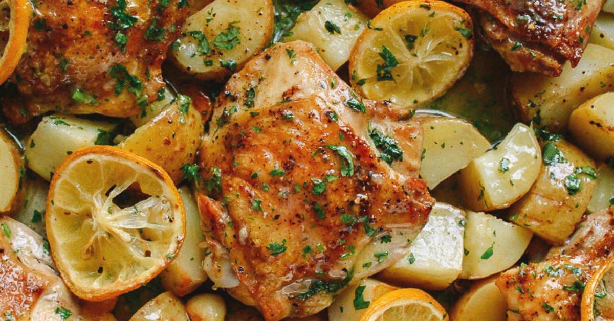 курица с картошкой и лимоном