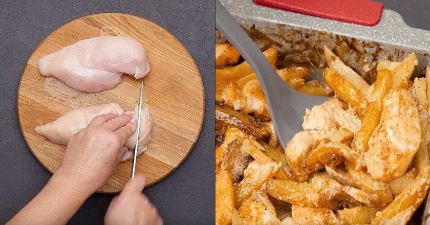 Куриная грудка с грибами и картофелем