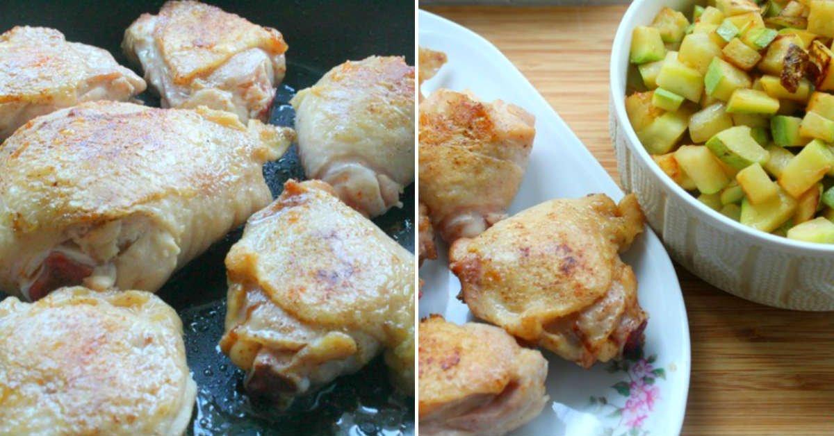 куриные бедра с кабачками