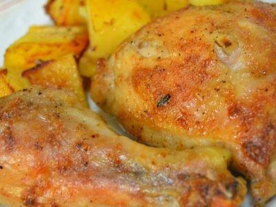 Куриные окорочка с яблоками
