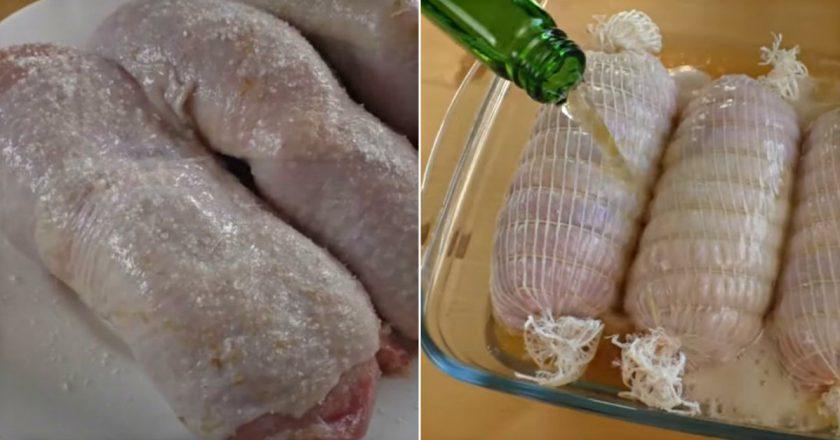 Куриные рулеты с сыром в маринаде