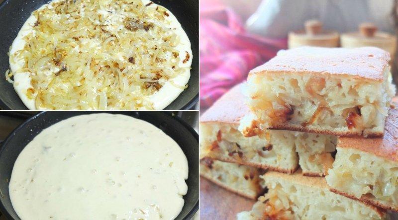 луковый пирог на сковороде