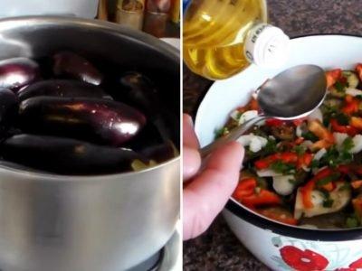 Маринованные баклажаны с перцем быстрого приготовления