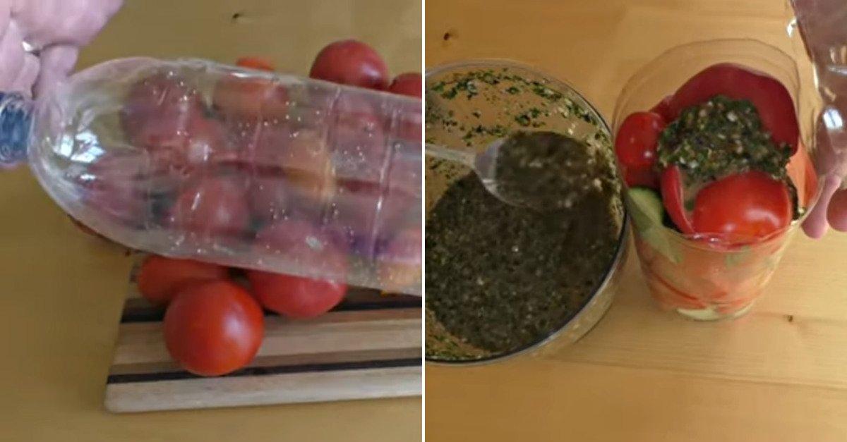 Овощи, маринованные в бутылке