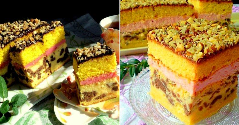 Многослойный пирог с творогом