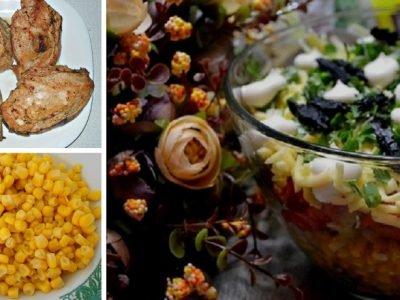 Многослойный салат с курицей